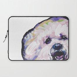 Fun BICHON Frise Portrait Dog bright colorful Pop Art Painting by LEA Laptop Sleeve