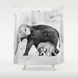 Family of elephants, black and white Shower Curtain
