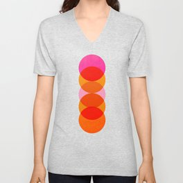 Abstraction_COLOUR_CIRCLES_001 Unisex V-Neck