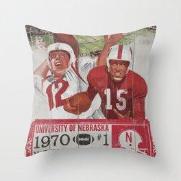 Vintage UNebraska Print Throw Pillow