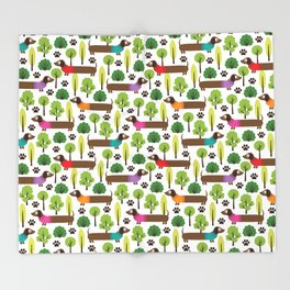 Dachshunds On A Walk In The Park Throw Blanket