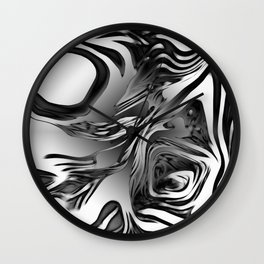 Silver Ink Abstract Design Wall Clock