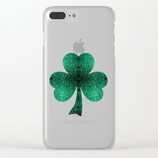 Emerald green shamrock clover sparkles Clear iPhone Case