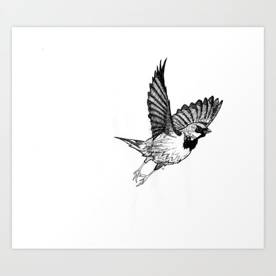 Fleeing Sparrow Art Print