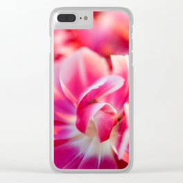 Fresh pink white red tulips Clear iPhone Case