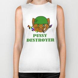 Pussy Destroyer- Brown Biker Tank