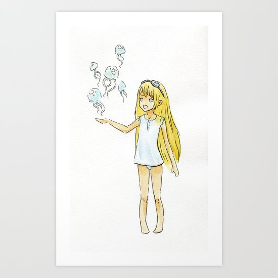 Jellyfish Girl Art Print