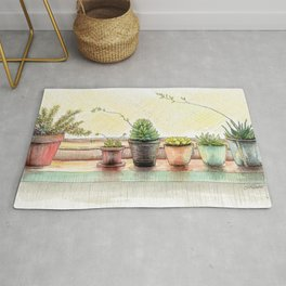 Succulents on a Window Sill Rug