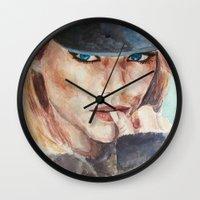 emma stone Wall Clocks featuring Emma Stone, blonde by xDontStopMeNow