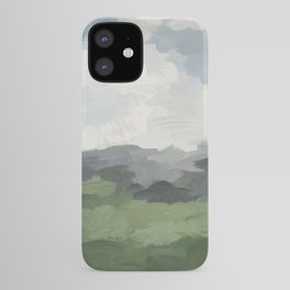 Sky Blue and Forest Green Rural Country Farm Land Nature Abstract Painting Art Print Wall Decor  iPhone Case