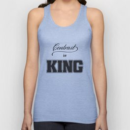 Contrast Is King on White Unisex Tank Top