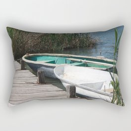 Reeds, Rowing Boats and Old Jetty at Dalyan Rectangular Pillow