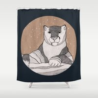 snow leopard Shower Curtains featuring Snow Leopard by Diana Hope