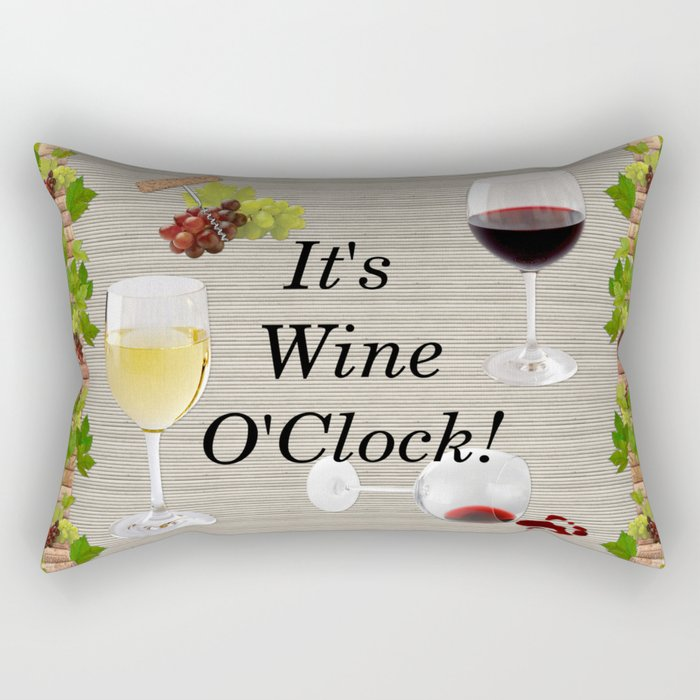 It's Wine O'Clock Rectangular Pillow