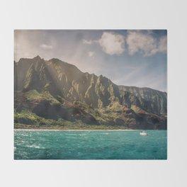 Na Pali Coast Kauai Hawaii Printable Wall Art | Tropical Beach Nature Ocean Coastal Travel Photography Print Throw Blanket