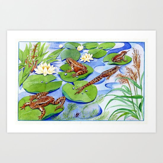 Four Frolicking Frogs Art Print