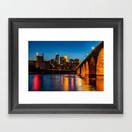 Stone Arch Bridge Illuminated Framed Art Print