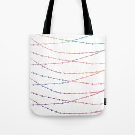 Modern abstract ombre pink lavender string lights Tote Bag
