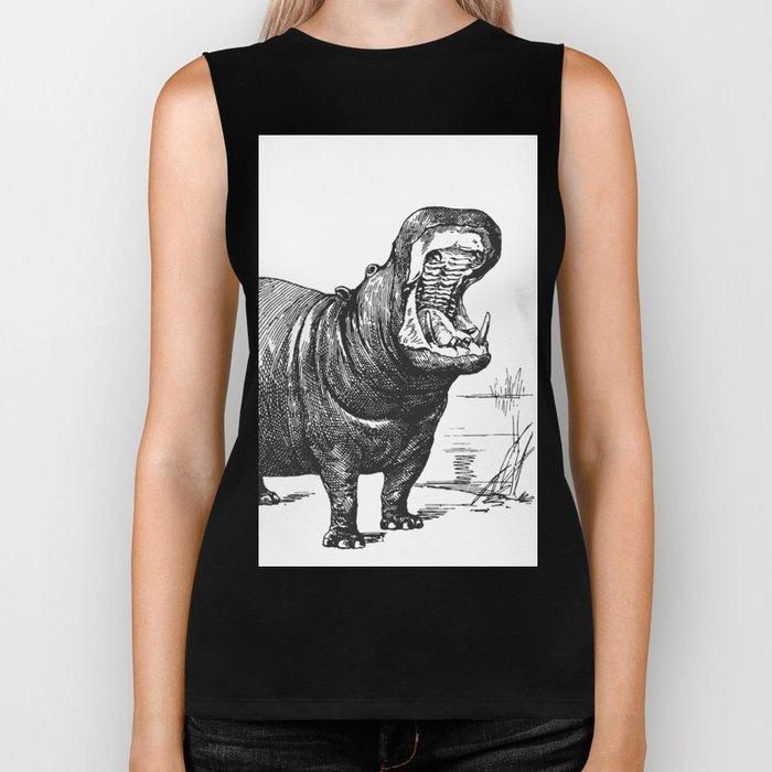 Hippopotamus black and white retro drawing Biker Tank