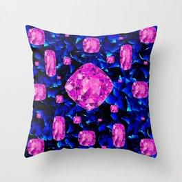 PINK SAPPHIRE GEM SPRINKLES ON BLUE  BIRTHSTONE ART Throw Pillow