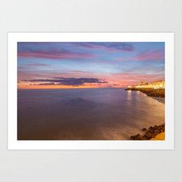 Inspiring sunset in Cádiz Art Print