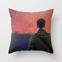 rothko Throw Pillows featuring Watching Rothko by Hipogrifos