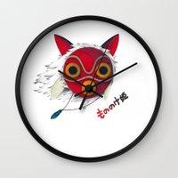 mononoke Wall Clocks featuring Mononoke Mask  by Puddingshades