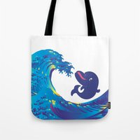 hokusai Tote Bags featuring Hokusai Rainbow & Babydolphin by FACTORIE