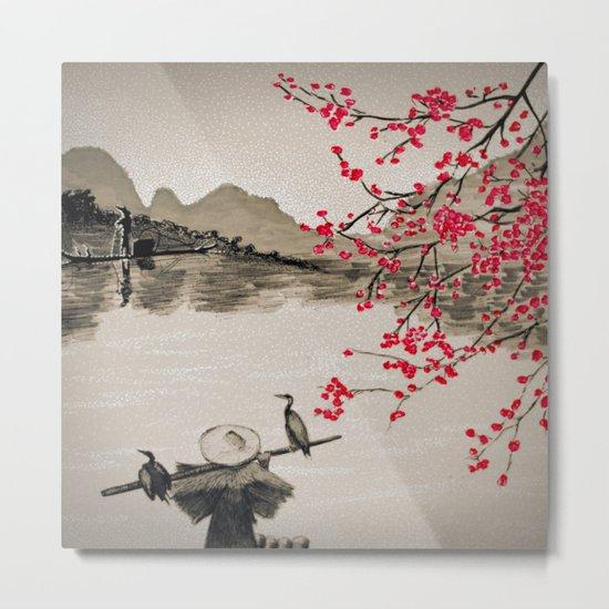 Japan Crane Fishing Metal Print