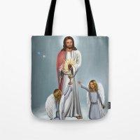 christ Tote Bags featuring Jesus Christ by Georgi Minkov