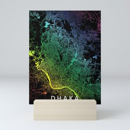 Dhaka, Bangladesh, City, Map, Rainbow, Map, Art, Print Mini Art Print