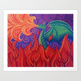 Green dragon pointillism dotillism dotart Art Print