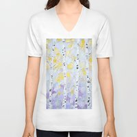 birch V-neck T-shirts featuring October Birch by Ann Marie Coolick