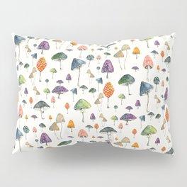 Watercolor mushrooms pattern on cream background Pillow Sham