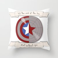 stucky Throw Pillows featuring Steve Rogers and Bucky Barnes Shield by Mallory Anne
