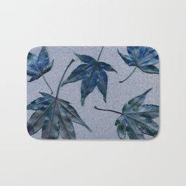 Japanese maple leaves - blue on faded lavender Bath Mat