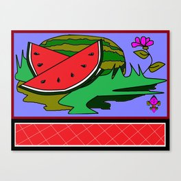 Watermelon with flower and red tile Canvas Print