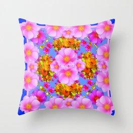 Decorative Pink & Blue Art Throw Pillow