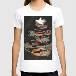 Coiled Spring Bespoke Christmas Tree Isolated On Black T-shirt