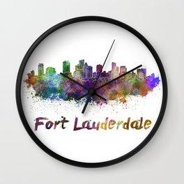 Fort Lauderdale skyline in watercolor Wall Clock
