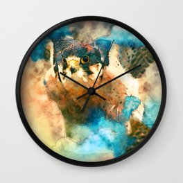 Peregrine in the Clouds Wall Clock