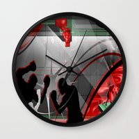 boxing Wall Clocks featuring Boxing by Robin Curtiss