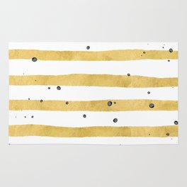 Modern hand painted yellow gold black watercolor splatters stripes Rug