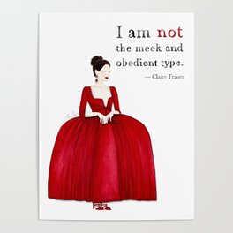 Outlander Claire Fraser Red Dress Not Obedient Quote Watercolor Poster