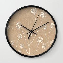 Dandelions flowers illustration on beige kraft Wall Clock