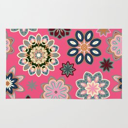 Flower retro pattern in vector. Blue gray flowers on pink background. Rug