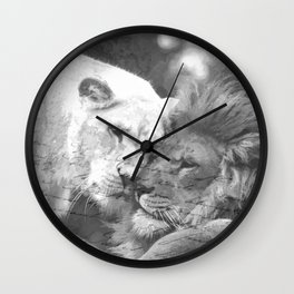 Lion in Love Valentine's Day Wall Clock