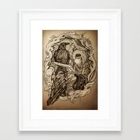crow Framed Art Prints featuring Crow by Alice Macarova