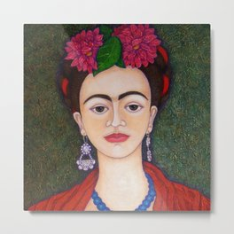 Frida portrait with dalias Metal Print