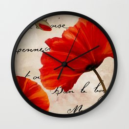 Coquelicots Red Wall Clock
